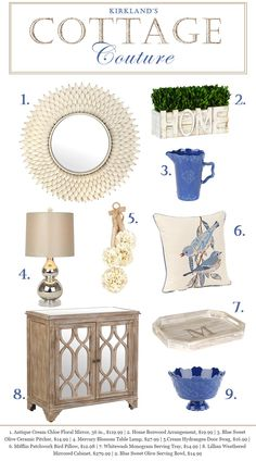 Add some cottage charm to your home this summer with enchanting and adorable items from Kirkland's!