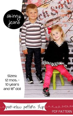 Skinny Jeans pants sewing pattern for boys or girls by Peek-a-boo Pattern Shop  At @GoToPatterns