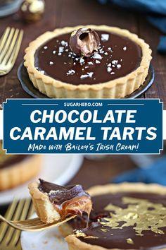 Baileys Chocolate Caramel Tarts Chocolate Caramel Tart, Chocolate Topping, Chocolate Caramels, Delicious Chocolate, Chocolate Tarts, Baking Recipes, Dessert Recipes, Desserts, Dessert Tarts Mini