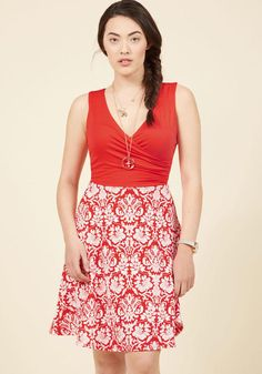 ModCloth - ModCloth State of the Art Class A-Line Dress in Damask in M - AdoreWe.com