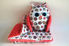 ZESTAW kocyk + poduszka sowa bawelna i minky  w Nattu na DaWanda.com #niezchinzpasji