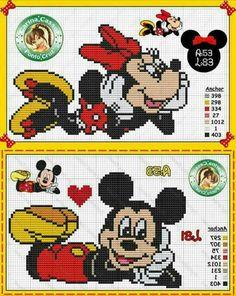 Blackwork Cross Stitch, Cross Stitch Charts, Cross Stitching, Cross Stitch Embroidery, Disney Cross Stitch Patterns, Cross Stitch For Kids, Cross Stitch Alphabet, Mickey Y Minnie, Disney Mickey