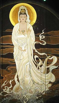 Kwan Yin - traditional Chinese painting  (lacks some of the detail of the 'modern' depictions, but the grace and flow of her robes is beautiful)