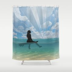 View from a Surfboard Shower Curtain