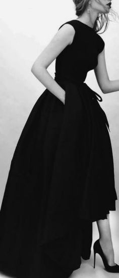 Black evening dress : with high-low skirt ,   floor length at back, mid calf at front