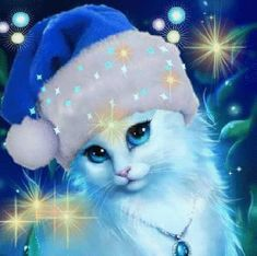 Embrace Christmas In Your Heart! Cute Cats And Kittens, I Love Cats, Kittens Cutest, Cute Animal Drawings, Cute Cartoon Wallpapers, Cat Wallpaper, Cat Colors, Cat Drawing, Christmas Cats