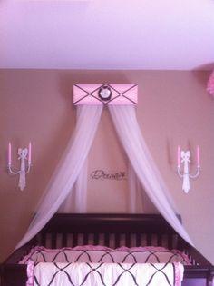 Ballet Crown Canopy Princess Ballerina Paris Pink Black Satin Padded for Girls Bedroom