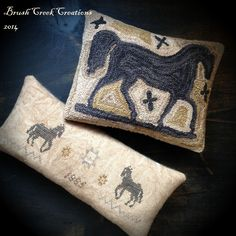www.brushcreekcreations.blogspot.com Punch Needle design by Lori Brechlin Cross Stitch design by The Blue Attic