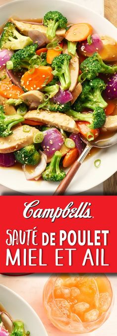 Chicken breast vegetables are coated in a delicious honey garlic sauce -- quick and easy for busy weeknights! Asian Recipes, Healthy Recipes, Ethnic Recipes, Healthy Foods, Stir Fry Recipes, Cooking Recipes, Garlic Chicken Stir Fry, Paleo, Main Meals