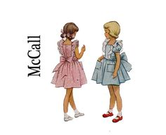 1950s little Girls size 2 Child's Pinafore dress ruffled shoulders McCall 8489 UNCUT Vintage Sewing Pattern breast 22 party dress from 1951 on Etsy, $15.00