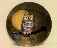 Margaret M. Ratcliff Mid Century Enamel on Copper Plate - Hoot Owl Bird - Signed