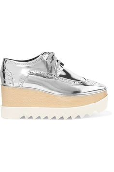 Stella McCartney - Metallic Faux Leather Platform Brogues - Silver