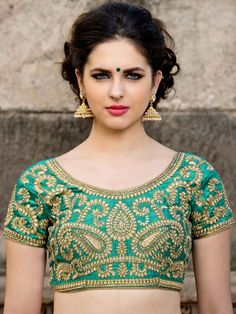 Short Sleeves Blouse with golden zari, kundan work. Item code: BHP126 http://www.bharatplaza.com/new-arrivals/accessories.html