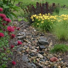 Landscaping a dry creek bed. this is a great way to decorate a water drainage area.
