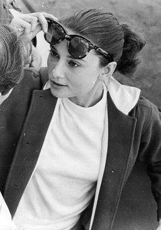 Audrey Hepburn photographed while visiting the set of Ben Hur in 1959