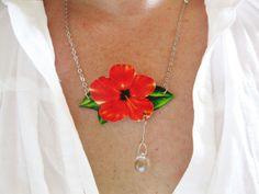 **2***///visitare..............//Collana di fiori ibisco arancia mandarino con vetro Dew Drop immagine gioielli