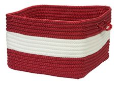 Rope Walk Indoor Outdoor Square Braided Basket, CB97 Red