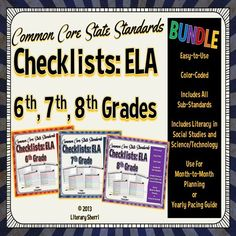 Get organized with CCSS Checklists for Grades 6-8 ELA and save 25% when you purchase all 3 grade levels together in one money-saving bundle! Professional, easy-to-use checklists will help you document when each CCSS was taught & assessed. Space to record notes helps you prepare for meetings & get a jump on lesson modifications and revisions. Also useful for aligning IEP goals, RTI documentation, & comparing the academic advances students need to make from one grade to the next. Grab yours today!