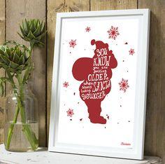 *Noël* Affiche Silhouette Pere Noël Rouge A4 sans cadre : Décorations murales par tauromarion