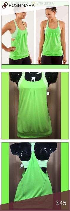 """🆕LULULEMON """"Practice Freely"""" neon green Racerback LULULEMON 🍋 Practice Freely Neon green tank with Gingham patterned bra underneath. No pads. Elastic waistband for non slippage during yoga moves & loose fitting & pleated for maximum airflow underneath while exercising. NWOT in Excellent shape! No flaws whatsoever! Size 2 lululemon athletica Tops Tank Tops"""