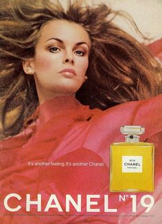 Model Jean Shrimpton photographed for advertisement of Chanel No.  19 - Vogue, December 1969.