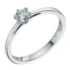 Platinum 1/3 carat 6 claw diamond solitaire ring - this diamond looks slightly blue love it!