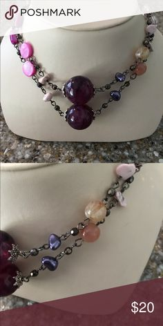 """🛍 Purple Pink Beaded Necklace 32"""".  Beaded. Independent Designer Jewelry Necklaces"""