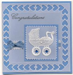 By Carolyn C.  Pergamano Parchment Craft baby card.  The basic design is from a Tina Cox pattern, with a June Owen pram.