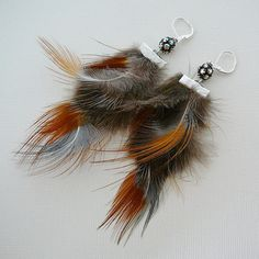 Feather Earrings with Rhinestone Disco Ball, $30.00