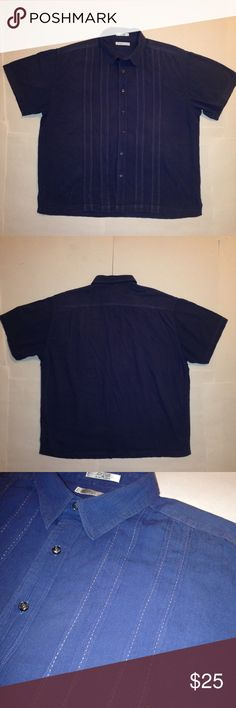 """Geoffrey Beene Amazing Slate Blue Cabana Shirt XL Same day shipping! 📦📦📦 Nothing like relaxing in style every day or at least on your off days. Excellent condition. Beautiful slate blue color. Size XL. Armpit to Armpit: 28"""" Length: 29"""" Geoffrey Beene Shirts Casual Button Down Shirts"""