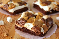 smores brownies...bake the brownies, then add the toppings and bake for another minute**