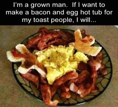 Some people have too much time on their hands…(bacon? Oh, you can never have too much bacon! Heavens, I'm only talking time management, not reducing bacon portions! Thirsty Thursday Meme, Wtf Funny, Hilarious, Funny Images, Funny Pictures, Posh Nosh, Christian Humor, Egg And I, Clean Memes
