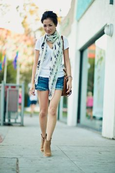 Booties + shorts + scarf = ❤