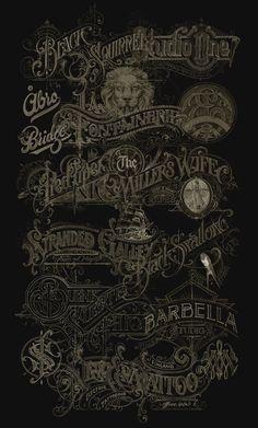 Martin Schmetzer on Behance Tattoo Lettering Fonts, Lettering Styles, Lettering Design, Sign Design, Book Design, Graphic Art, Graphic Design, Cool Typography, Vintage Logo Design