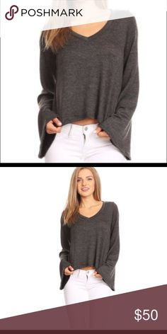 LONG BELL SLEEVE GRAY SWEATER TOP BEAUTIFUL JERSEY BUTTER FINISHED  GORGEOUS BELL SLEEVES  A STATEMENT PIECE  SMALL US SIZE 2-4  MEDIUM SIZE 6-8  LARGE SIZE US SIZE 10-12 Sugar Punch Couture Tops Tees - Long Sleeve