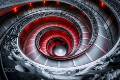 The famous Vatican museum Bramante staircase edited to give it more gothic atmosphere. By Aaron Choi.