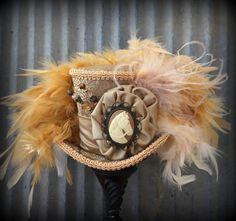 Kentucky Derby Hat, Kentucky Derby Fascinator, Horse Cameo, Gold and tan hat, Alice in Wonderland, Tea Party, Mad Hatter Hat, STeampunk