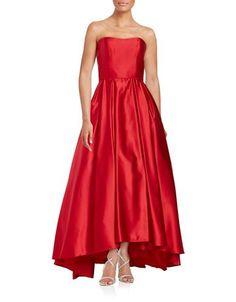 """<ul> <li>Elegant ballgown with a sweetheart neckline in dazzling satin</li>  <li>Sweetheart neckline</li>  <li>Strapless</li>  <li>Back zip</li>  <li>Lined</li>  <li>About 47"""" from top to hem</li>  <li>Polyester</li>  <li>Dry clean</li>  <li>Made in USA of imported fabric</li>  <li>This item will arrive with a tag attached and instructions for removal. Once tag is removed, this item cannot be returned.</li> </ul>"""