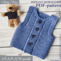 PDF-pattern Knit baby vest Knitting pattern Baby w… - Baby Clothing Baby Knitting Patterns, Baby Patterns, Pdf Patterns, Knit Vest Pattern, Easy Knitting, Garter Stitch, Baby Sweaters, Crochet Baby, Knitted Baby