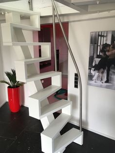 Stainless steel railing as a bracket construction - - Tiny House Stairs, House Staircase, Loft Stairs, Space Saving Staircase, Landing Decor, Narrow Staircase, Wrought Iron Stair Railing, Stainless Steel Railing, Modern Office Decor