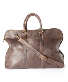 Look what I found on #zulily! Chocolate Distressed Leather Getaway Duffel Bag #zulilyfinds