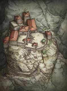 This illustration of a mountaintop fortress was created to add flavor to the edition release of the roleplaying game Dungeons & Dragons. Fantasy City Map, Fantasy Town, Fantasy Castle, Medieval Fantasy, Fantasy World, Dungeon Maps, Fantasy Concept Art, Fantasy Setting, Illustration