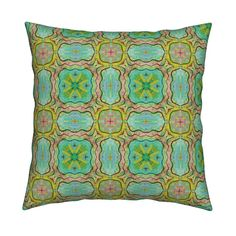 Catalan Throw Pillow featuring TIKI TRIBAL TILES 5 RECTANGLES SQUARES AQUA by paysmage | Roostery Home Decor