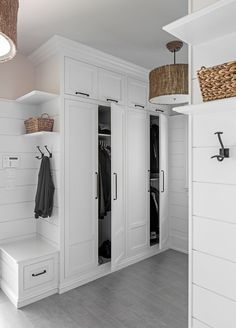 MUDROOM IDEAS – The mudroom is a very crucial part of your house. Mudroom allows you to keep your entire home clean and tidy. Mud room or you can call it an entryway is an ideal place where y… Mudroom Cabinets, Mudroom Laundry Room, Mud Room Lockers, Bench Mudroom, Storage Cabinets, Entry Closet, Room Closet, Home Design, Home Modern
