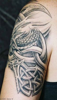 Celtic Arm Tattoos for Men | Tony's Celtic knots and dragons arm and shoulder tattoo.