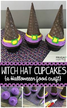 Witch Hat Cupcakes for Halloween. Simplistic Decorative Themed Desserts for your Next Gathering. Cupcakes for all Seasons.Easy Witch Hat Cupcakes for Halloween. Simplistic Decorative Themed Desserts for your Next Gathering. Cupcakes for all Seasons. Halloween Food Crafts, Halloween Snacks For Kids, Halloween Witch Hat, Halloween Cupcakes, Halloween Fun, Vintage Halloween, Witch Hats, Easy Halloween Desserts, Halloween Decorations