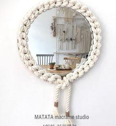 Macrame wall decoration - My Website 2020 Macrame Mirror, Macrame Art, Macrame Design, Diy Mirror, Macrame Projects, Macrame Wall Hanging Patterns, Macrame Patterns, Metal Clock, Metal Wall Art