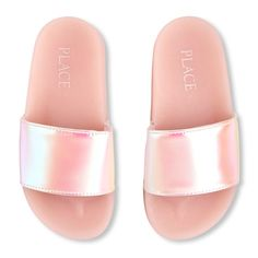 The Children's Place offers a wonderful variety of girls shoes that will fit her style. Shop the PLACE where big fashion meets little prices! Cute Slippers, Pink Slippers, Slippers For Girls, Baby Girl Sandals, Girls Sandals, Girls Shoes, Cute Shoes Heels, Cute Sandals, Slide Sandals