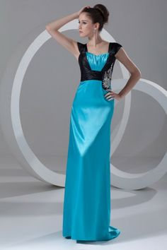 Chiffon and Satin Straps Sweep Train Column Embroidered Prom Dress - WooVow