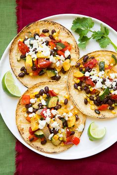 Roasted Veggie and Black Bean Tacos #vegetarian #corn #dinner  FoodBlogs.com
